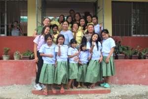 The girls in their school uniform