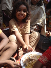 enjoying food with families