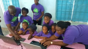Girls being exposed to Coding using code.org