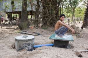 Mr. Sok, relative of Mr. Chan at his new latrine