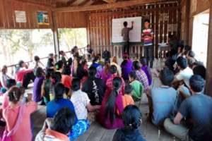 Meeting with villagers to introduce the project