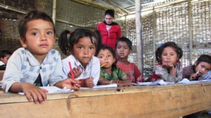 children in temporary learning shelters