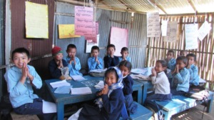 Children thanking for your support for new school