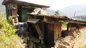 Earthquake destroyed Toilets in school