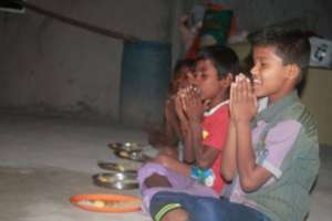 Children have healthy and tasty food