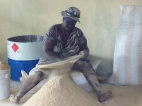 member sifting grain before transformation