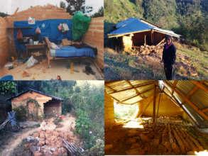 Damaged dwellings in Malinaltepec