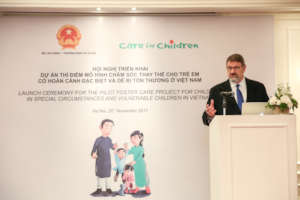 Care for Children's founder at the launch ceremony