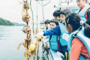 Ocean program catching scallops with fisherman