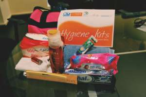 Hygiene kits for distribution to women refugees