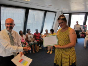 A carer with their special commendation