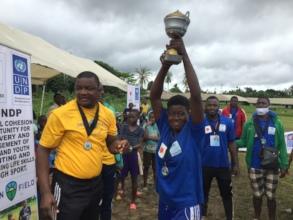 Kumba Town girls raise the cup!