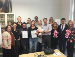 Trainees in Prague with their certificates