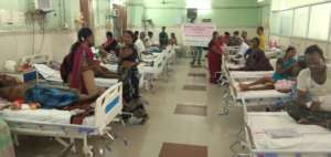 Patients in hospital getting food donation charity