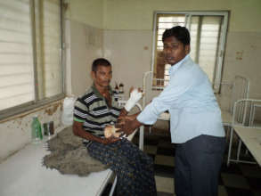 Donating food items to poor patients in AP