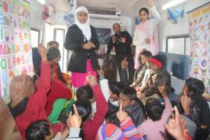 Inside the mobile classroom with the teachers