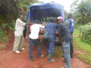 RECEADIT Truck Stuck in Mud on its Muteff Trip.