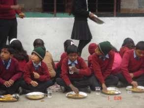 Lunch time at school in Birgunj