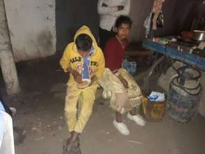 Night time visit and assistance to street children