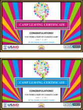 Climate Camp 2017 Certificates