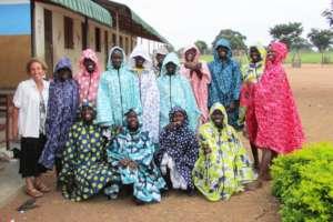 Carol with 6th Grade Girls in New Rain Coats