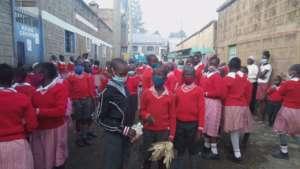 Students in our Korogocho School's yard