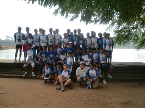 Group shot after the race - lots of smiling faces