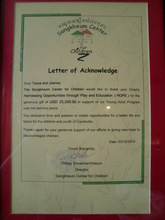 A diploma recognises the support HOPE has given