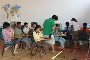 Computer lessons for the Cambodian Carers