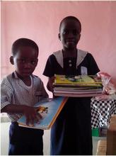 Christpher and Mary collect school supplies