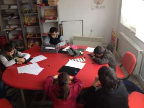 The children learning Braille for the first time