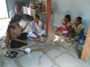 Mrs Satha Haveela interacting with elder girls