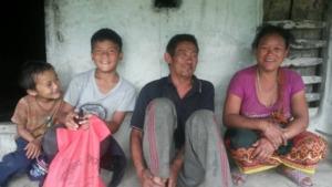 Sabin visiting his family