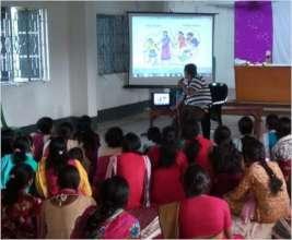 Girls watching animation film on Child Abuse