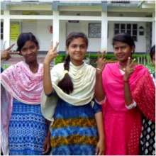 Cheering with friends at resisting Child Marriage