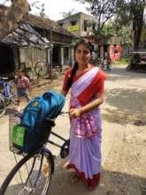 Sritama on her way to school