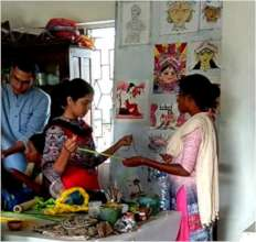 Sritama busy in art work with trainer and friends