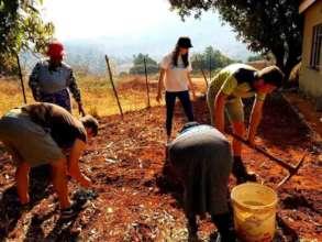 Volunteers helping make a vegetable Garden