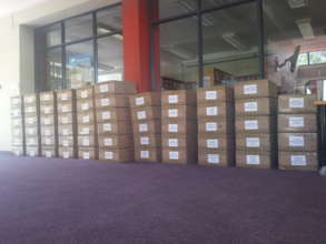 An example of how the books will be packed