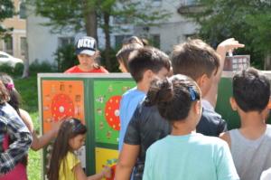 Children doing activities at the Mobile School