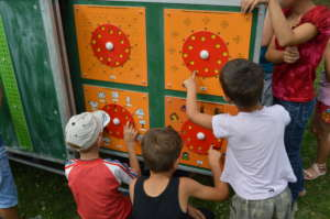 Children learning at the Mobile School