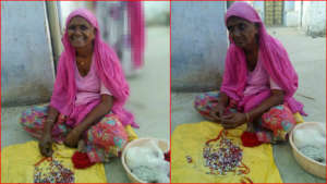 old Women Member of SHGs are making Handicrafts