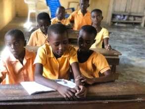 Adwoa with her classmates.