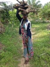 Khadija collecting wood.