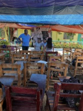 Holding classes in makeshift classrooms
