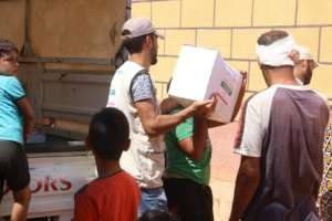 Ration being Distributed among Refugees