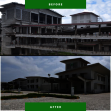 A before and after of the building