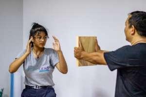 2019 LEADer Aashma in the Self Defense Workshop