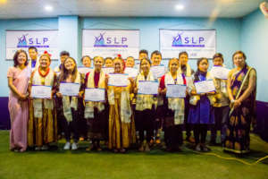 2018 LEADers Piyusha and Anjana with SLP students
