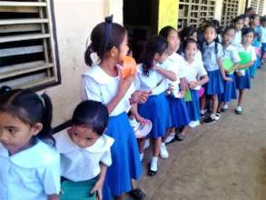 Students in line for AAI sponsored midday meal